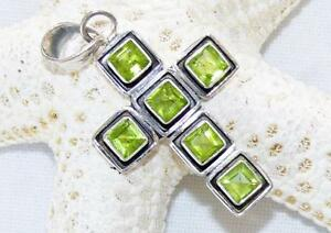 Handmade sterling silver 925 peridot gemstone cross pendant 175 image is loading handmade sterling silver 925 peridot gemstone cross pendant mozeypictures Image collections