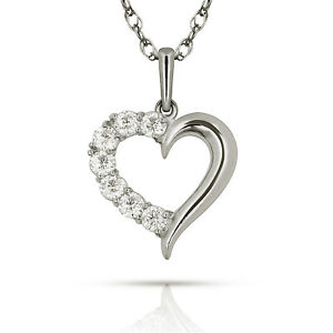 Ashley Jewels Simulated Diamond Studded Love Promise Heart Pendant Necklace in 14K White Gold Plated With Box Chain