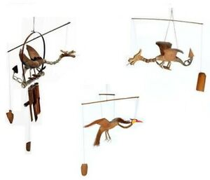 Details About Hand Carved Wooden Dragon Windchime Bamboo Coconut Garden Wood Wind Chime Mobile
