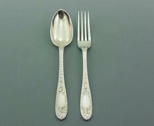 EXCELLENT-SOLID-SILVER-COUVERT-FORK-amp-SPOON-REID-NEWCASTLE