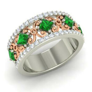 1-40-Ct-Real-Diamond-Eternity-Band-14K-Solid-White-Gold-Emerald-Ring-Size-N-M-O