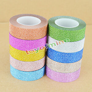 10M-GLITTER-Washi-Nastro-Autoadesivo-decorative-Craft-CARTA-ADESIVA