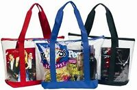 Large Clear Tote Bag With Zipper Closure (black)