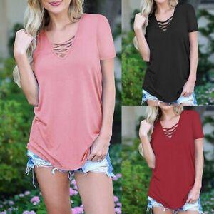 Women-Summer-Casual-Short-Sleeve-V-Neck-Solid-Basic-Cross-Tops-Blouse-T-Shirt-CA
