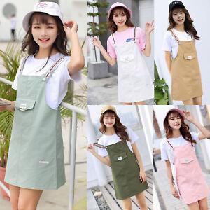 Women-Girls-Korean-Casual-Strap-Dungaree-Overall-Dress-Cotton-Pinafore-Skirts