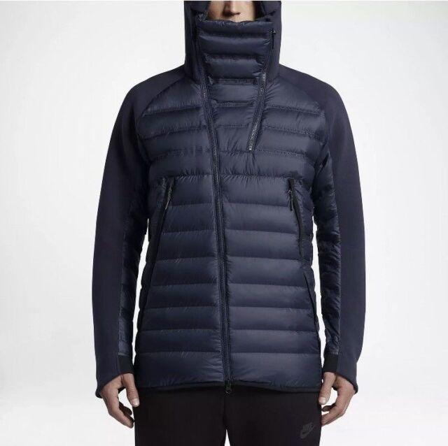 XL 806838 BLUE 451 Nike Fleece Aeroloft NAVY Down Winter BLACK Tech Jacket KlJTcF1
