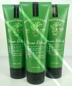 3 Bath Body Worksstress Relief Eucalyptus Spearmintcream Lotion