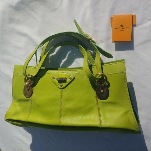 Etro Lime Green Soft Leather HandBag Purse Bag Clu