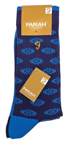 2 Pack Mens Bright Vintage Patterned Dress Socks in Orange and Blue FARAH