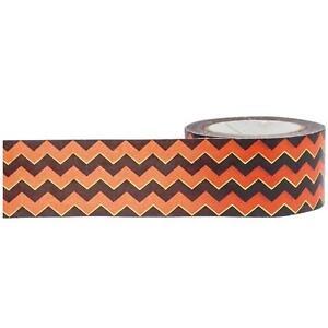 Little B: Orange, Black, Gold 'Chevron' Washi Tape, 25mm (Halloween Crafts ETC)