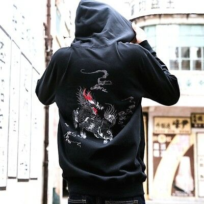 Mens Hoodie Sweatshirt Japanese Pattern Embroidery Hooded Sweater Totem Kirin