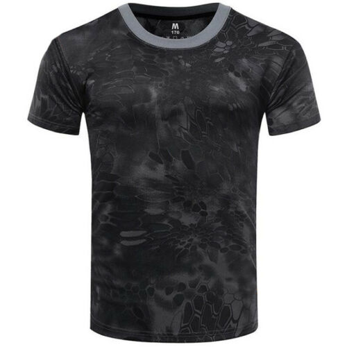 Men Tactical Breathable Camo Quick Dry Tops Short Sleeve Mesh T-Shirts Blouses
