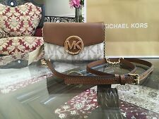 NWT MICHAEL KORS MK  HUDSON PVC LARGE PHONE WALLET CROSSBODY CHAIN BAG IN BROWN