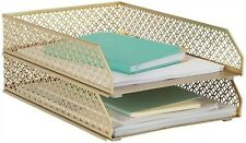 Blu Monaco Gold Desk Organizer Stackable Paper Tray Stackable Letter Tray 2pcs