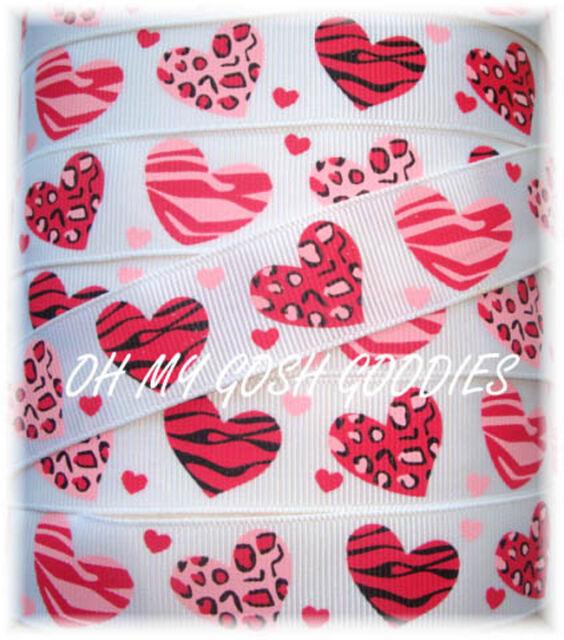 7/8 VALENTINE PINK RED LEOPARD ZEBRA HEART  LOVE GROSGRAIN RIBBON 4 HAIRBOW BOW
