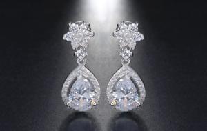 2.9ct Pear Cut VVS1D Diamond Halo Teardrop Stud Earrings 14k White gold Finish
