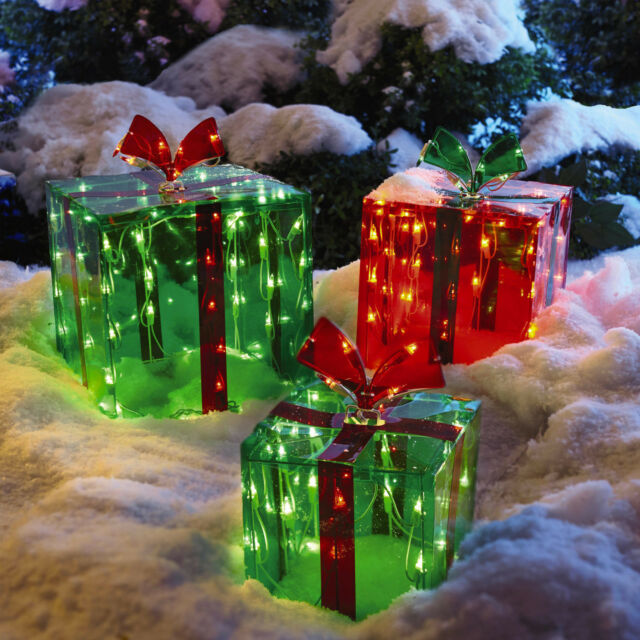 Glass christmas lighted gift boxes