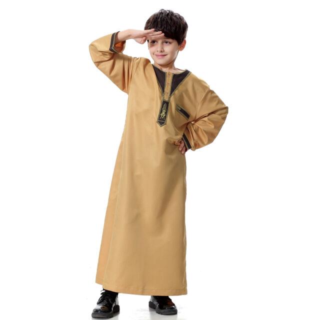 Boys Kids Thobe Jubba Qatari Collar Islamic Childrens Robe Kaftan Arab Clothing