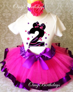 82479c6383195 Minnie Mouse Dots Pink Purple Second 2nd Birthday Shirt Tutu Outfit ...