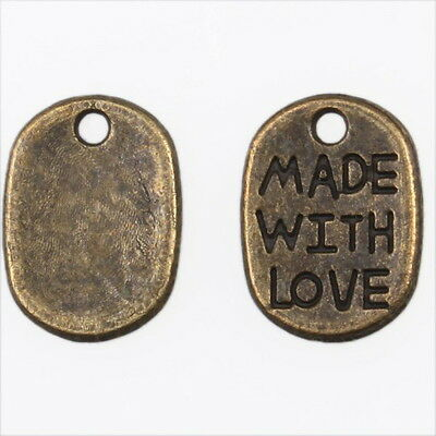200x Wholesale Vintage Bronze Square Letter Charms Alloy Pendants Findings L