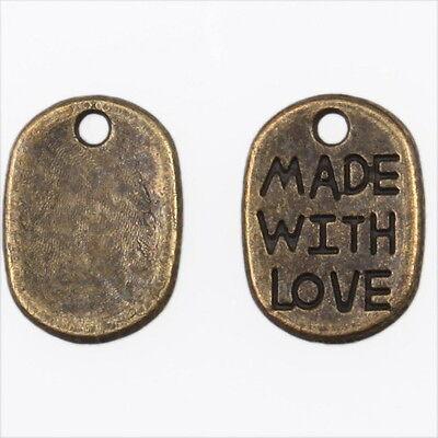 200x Wholesale Vintage Bronze Square Letter Charms Alloy Pendants Findings L