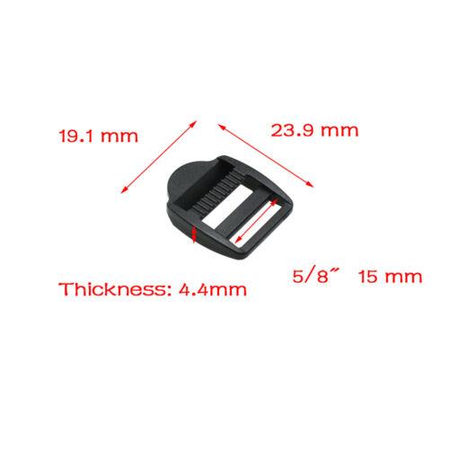 all/'ingrosso Dispositivo di scorrimento Blocco Scaletta Plastica Fibbie Zaino Cinghie Cinghia NERO