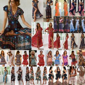 UK-Women-Wrap-Summer-Boho-Floral-Paisley-Mini-Print-Dress-Ladies-Holiday-Beach