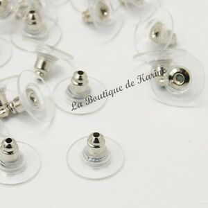30-EMBOUTS-FERMOIRS-BOUCLES-D-039-OREILLES-ARGENTE-PLASTIQUE-CREATION-BIJOUX-PERLE