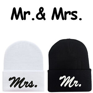 d06a7d2cf93 Mr.   Mrs. Wedding Bride   Groom Beanie Caps Hats Couple s Gift Mr ...