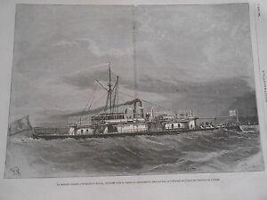 Gravure-1875-Le-Monitor-Cuirasse-a-Tournelles-Le-Javary