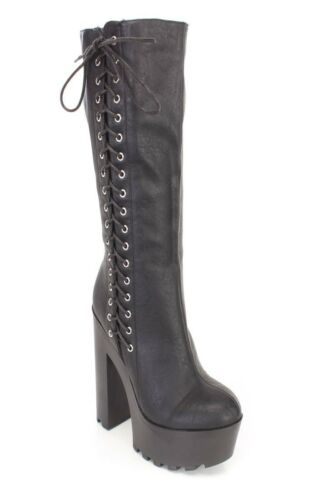 Wild Diva Womens Almond Toe Mid Calf Knee Lug Sole Thick Chunky Heel Boot
