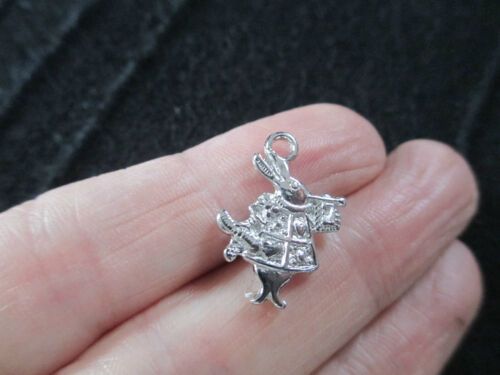 Pack of 10 3D Antique Silver Rabbit Charm  Alice In Wonderland 19mm x 14mm