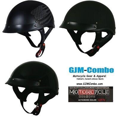 Torc T55 Spec-Ops Skull Cap w// Drop Smoke Sun Visor Motorcycle Half Helmet