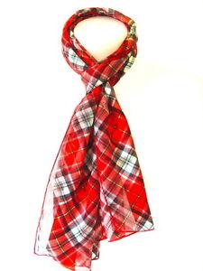 New Ladies Women Long Traditional Scottish Satin Stripe Tartan Print Scarf Stole