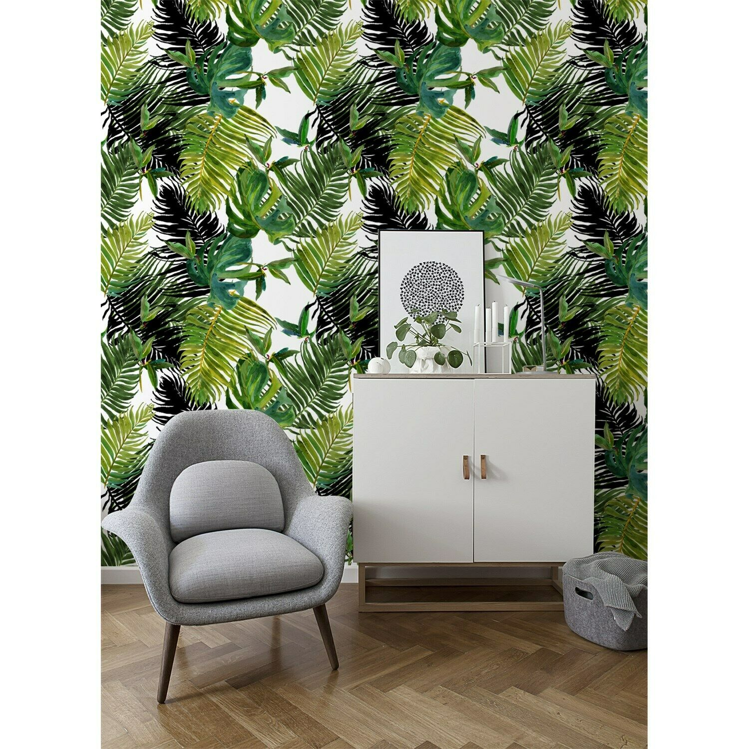 Non-Woven wallpaper Fresh Grün Tropical Exotic flowers and leaves Home Mural