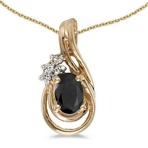 "14k Yellow Gold Oval Onyx And Diamond Teardrop Pendant with 18"" Chain"