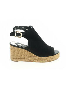Women River Island Black Faux Suede Espadrille Wedge Shoes Size 5 M