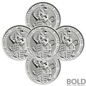 2016-Silver-Great-Britain-Queen-039-s-Beasts-The-Lion-2-oz-5-Coins