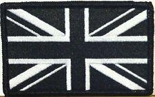 UNITED KINGDOM UK Flag Patch With VELCRO® Brand Fastener B & W / Black Border #3