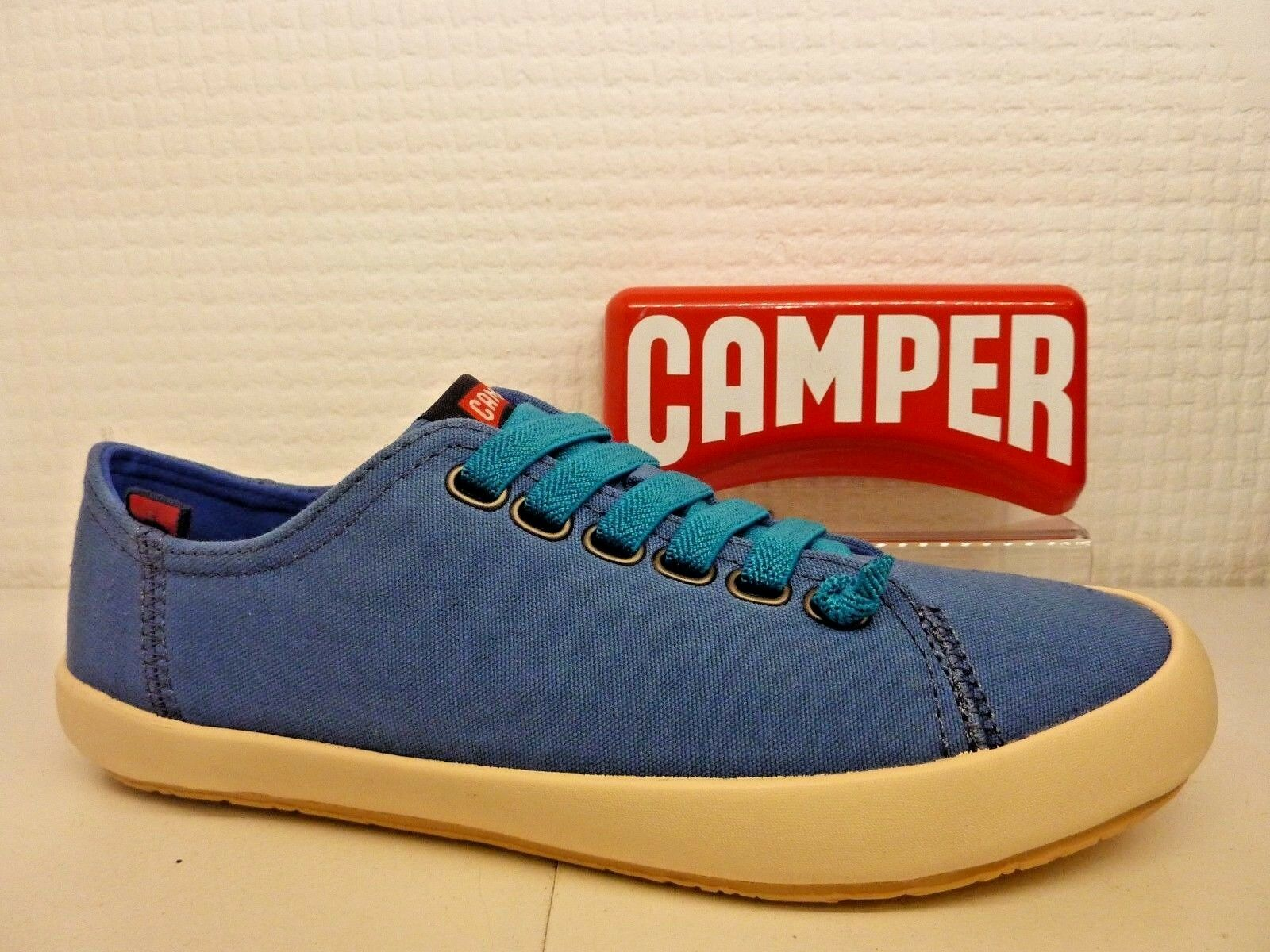 Camper transmitidas por K200284-008 Azul Textil Elástico Encaje Damas Zapatilla Zapato