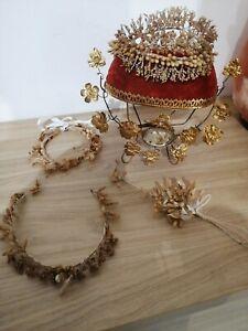 Lot-support-couronne-de-mariee-ancienne-bouquet-cire-globe-jartiere-fleur