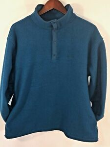 LL-Bean-Fleece-Jacket-Pullover-Women-039-s-L-Blue-Snaps-Pockets-Vintage-Made-In-USA