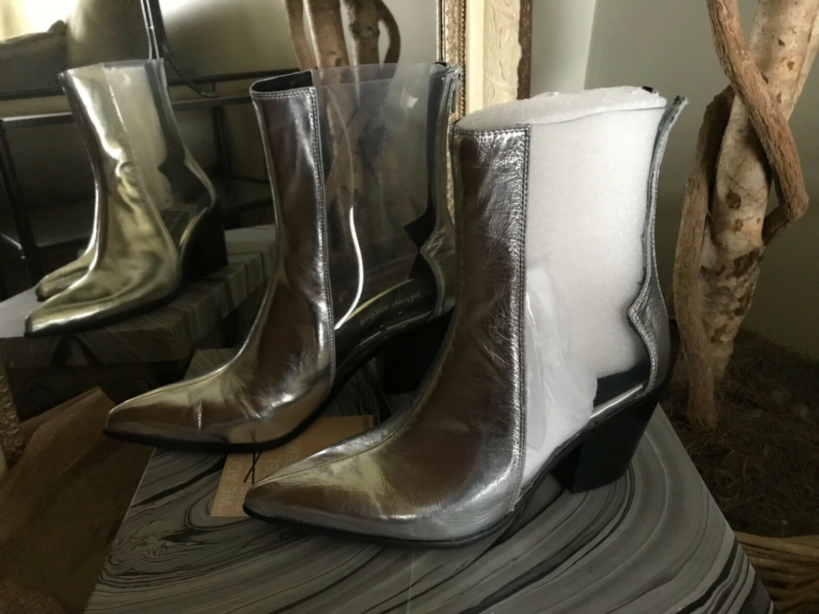 Jeffrey Campbell Womens Alias Silver Leather Clear Clear Clear Ankle Bootie 8M MSRP  190 cb998f