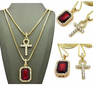 Mens iced out ankh cross red ruby pendant box chain set necklace hip image is loading mens iced out ankh cross red ruby pendant mozeypictures Choice Image