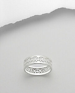 Peace-Sign-Symbol-Fashion-Ring-New-925-Sterling-Silver-Band-Sizes-6-5