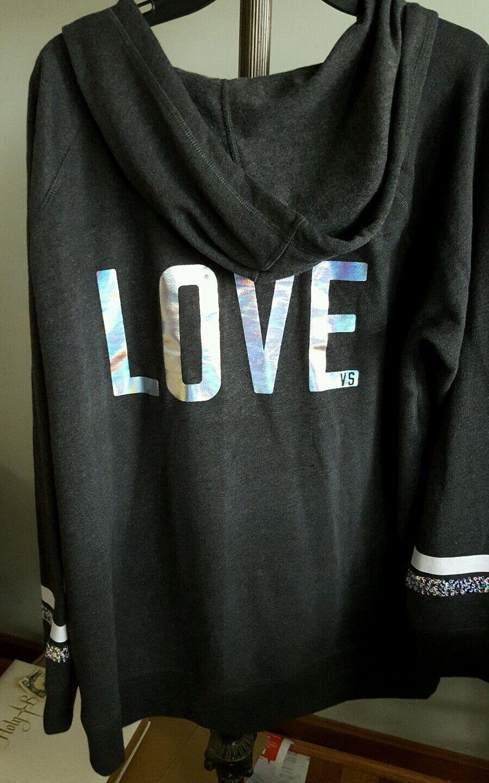 Victoria's Victoria's Victoria's Secret NEW sequins stripes on sleeves FLEECE Hoodie Grey TUNIC Med. 49594f