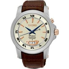 SEIKO MEN'S PREMIER PERPETUAL 41.5MM BROWN LEATHER BAND QUARTZ WATCH SNQ150