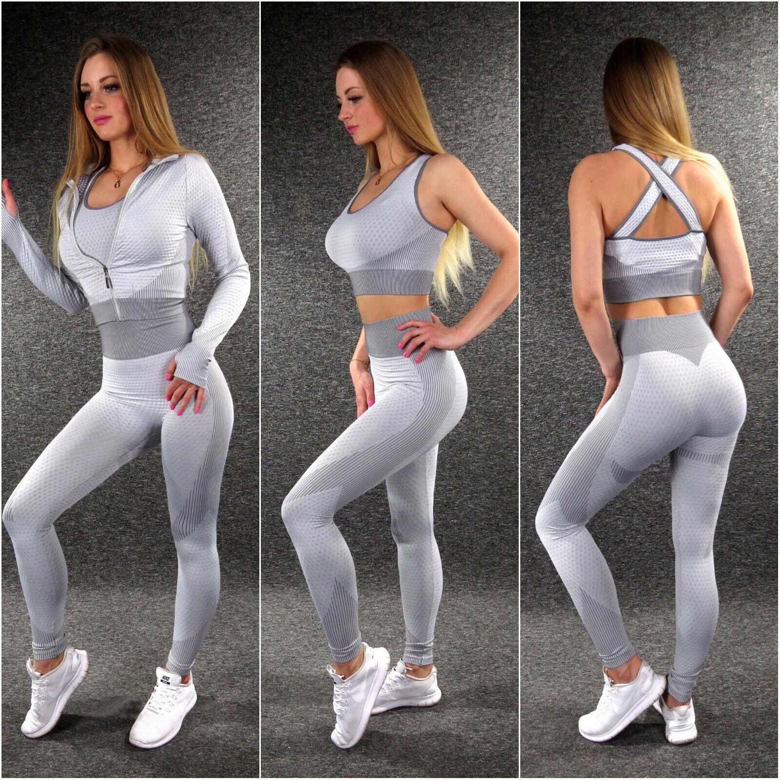 Damen Freizeitanzug Fitnessanzug 3Teiler ZAZOU Push Up Fitness Hose Jacke Top S1