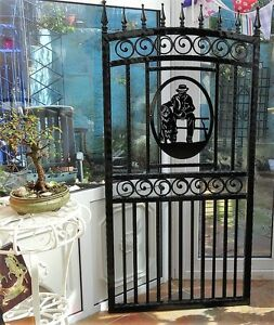 Wrought Iron Gate Unique Old Man And Dog Design Single Gate