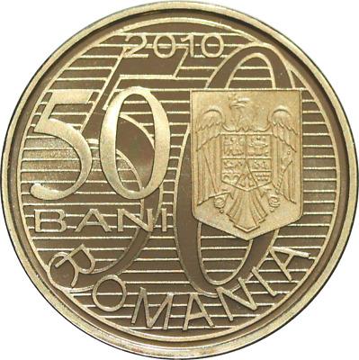 ROMANIA 50 bani 2010 Brass coin ROMANIAN Rumänien PROOF Aurel VLAICU plane PILOT